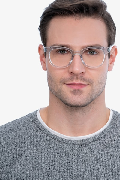 Lighthouse Clear Blue Acetate Eyeglass Frames for Men from EyeBuyDirect, Front View