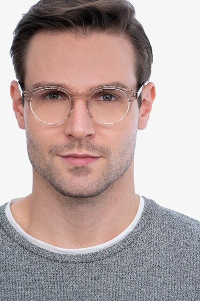 Manara Champagne Acetate Eyeglass Frames for Men from EyeBuyDirect, Front View