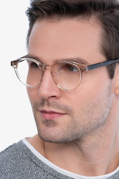 Manara Champagne Acetate Eyeglass Frames for Men from EyeBuyDirect