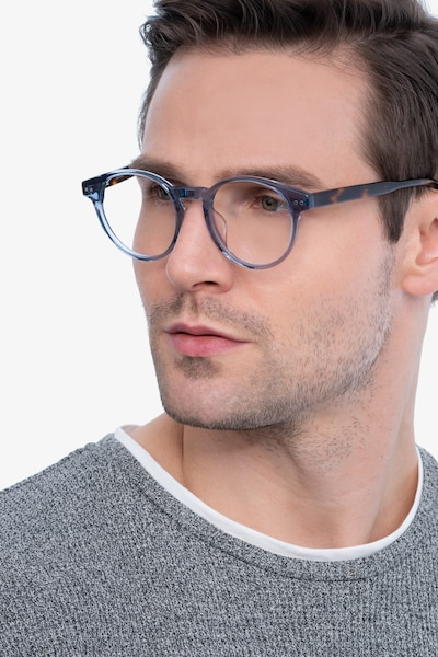 Manara Blue Gray Acetate Eyeglass Frames for Men from EyeBuyDirect, Front View