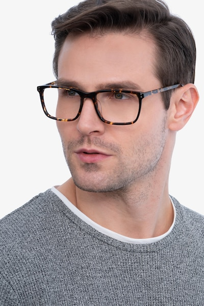 Connect Tortoise Acetate Eyeglass Frames for Men from EyeBuyDirect, Front View