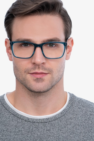 Connect Green blue Acetate Eyeglass Frames for Men from EyeBuyDirect, Front View