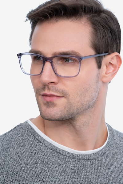 Connect Gray Acetate Eyeglass Frames for Men from EyeBuyDirect, Front View