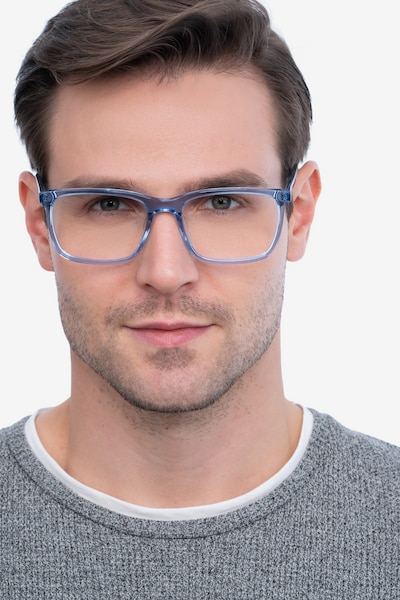 Connect Blue Acetate Eyeglass Frames for Men from EyeBuyDirect, Front View