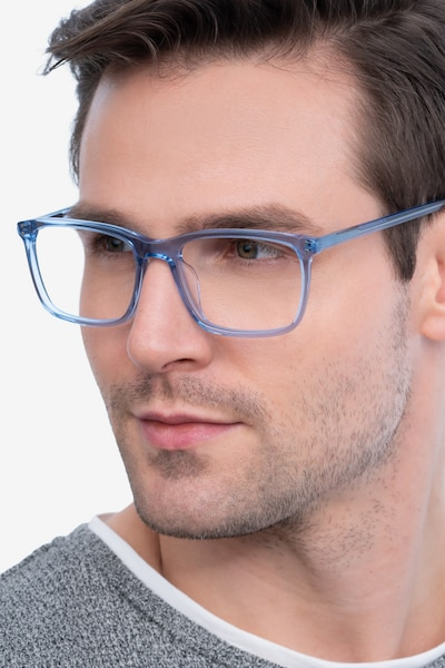 Connect Blue Acetate Eyeglass Frames for Men from EyeBuyDirect