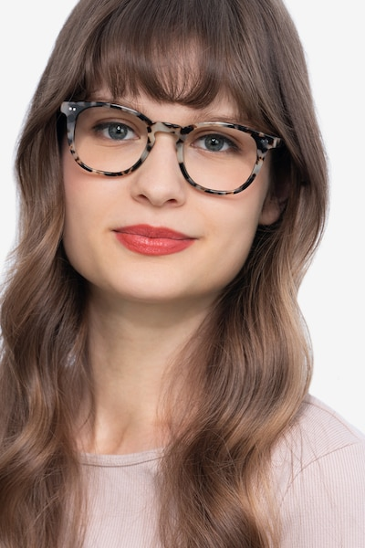 Ona Flecked Ivory Acetate Eyeglass Frames for Women from EyeBuyDirect, Front View