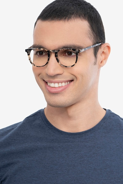 Ona Ivory Tortoise Acetate Eyeglass Frames for Men from EyeBuyDirect, Front View