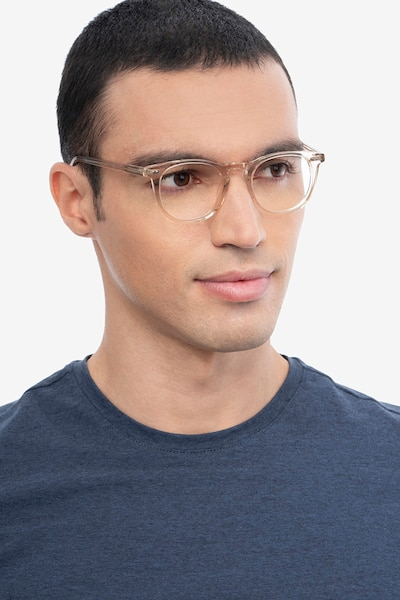 Ona Champagne Acetate Eyeglass Frames for Men from EyeBuyDirect, Front View