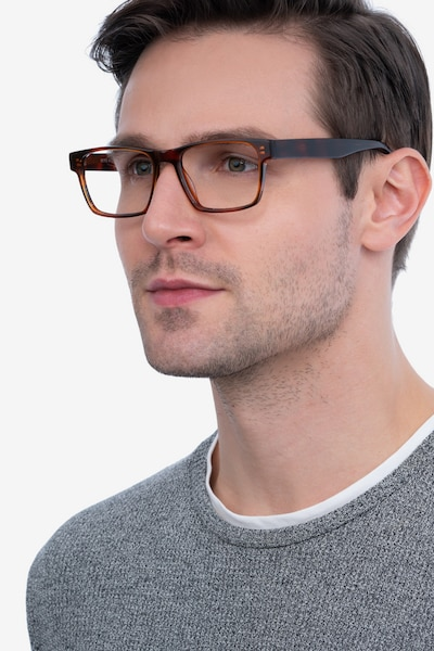 Reyes Brown Acetate Eyeglass Frames for Men from EyeBuyDirect, Front View