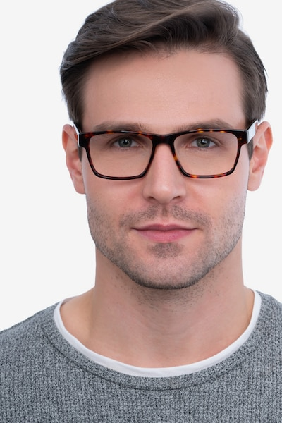 Reyes Tortoise Acetate Eyeglass Frames for Men from EyeBuyDirect, Front View