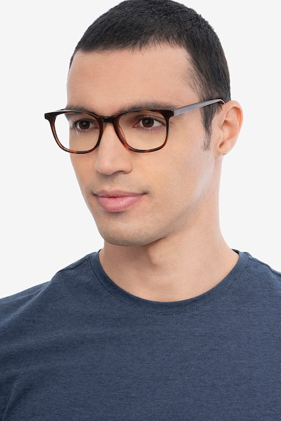 Seasons Brown Tortoise Acetate Eyeglass Frames for Men from EyeBuyDirect, Front View