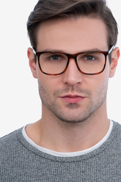 Mezzanine Brown Acetate Eyeglass Frames for Men from EyeBuyDirect, Front View