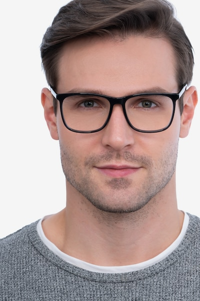 Mezzanine Gray Acetate Eyeglass Frames for Men from EyeBuyDirect, Front View