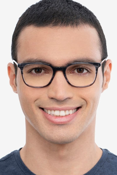 Howie Gray Striped Acétate Montures de Lunettes pour Hommes d'EyeBuyDirect