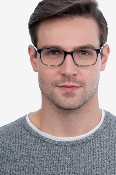 Collective Gray Acetate Eyeglass Frames for Men from EyeBuyDirect, Front View