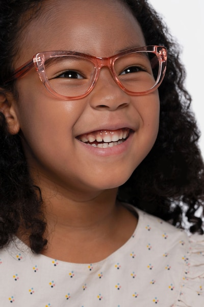 Little Charlotte Pink Acetate Eyeglass Frames for Women from EyeBuyDirect, Front View