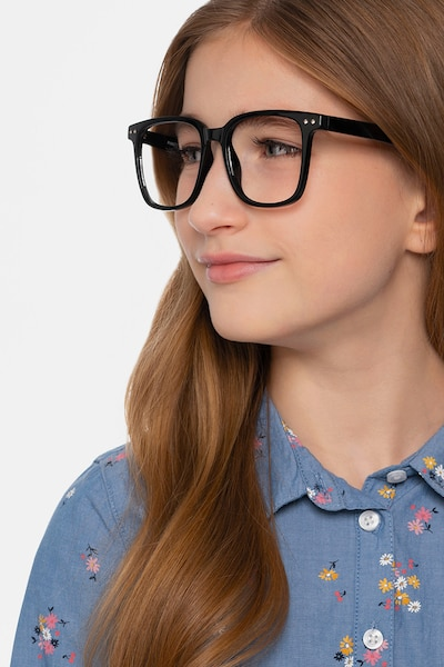 Piano Black Plastic Eyeglass Frames for Women from EyeBuyDirect, Front View