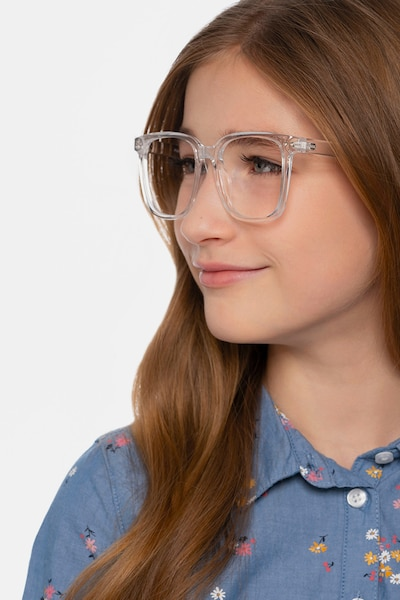 Piano Clear Plastic Eyeglass Frames for Women from EyeBuyDirect, Front View
