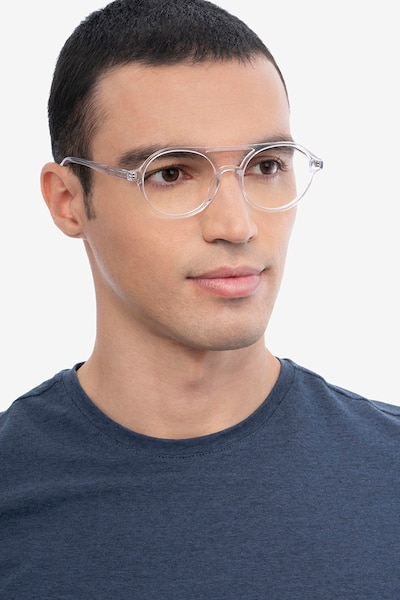 Elevate Clear Acetate Eyeglass Frames for Men from EyeBuyDirect, Front View