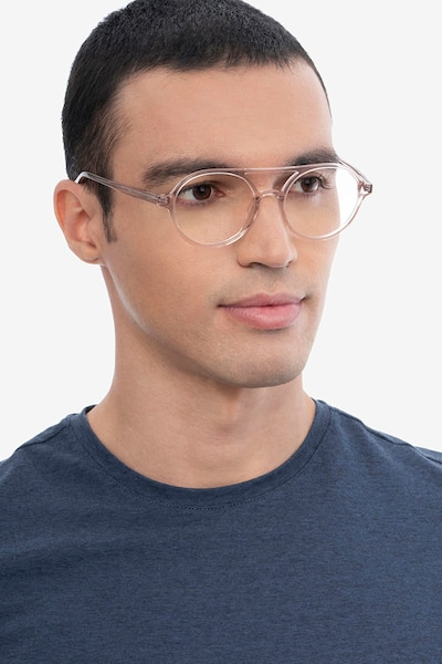 Elevate Clear Pink Acetate Eyeglass Frames for Men from EyeBuyDirect, Front View