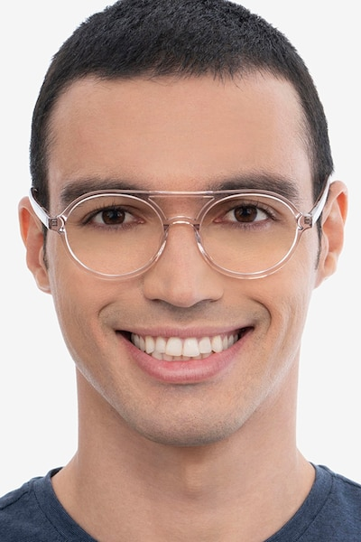 Elevate Clear Pink Acetate Eyeglass Frames for Men from EyeBuyDirect