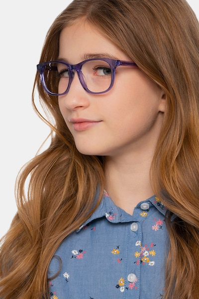 Steps Purple Acetate Eyeglass Frames for Women from EyeBuyDirect, Front View