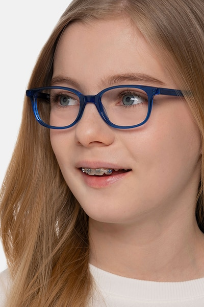 Leap Blue Acetate Eyeglass Frames for Women from EyeBuyDirect