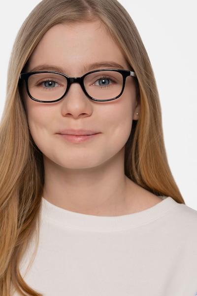 Leap Black Acetate Eyeglass Frames for Women from EyeBuyDirect, Front View