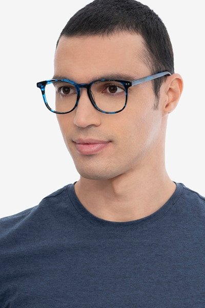 Ander Blue Tortoise Acetate Eyeglass Frames for Men from EyeBuyDirect, Front View