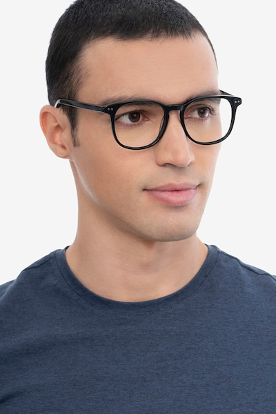 Ander Gray Clear Acetate Eyeglass Frames for Men from EyeBuyDirect, Front View