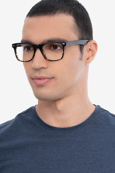 Caster Black Tortoise Acetate Eyeglass Frames for Men from EyeBuyDirect, Front View