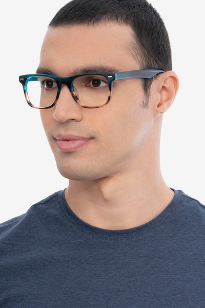 Caster Blue Striped Acetate Eyeglass Frames for Men from EyeBuyDirect, Front View