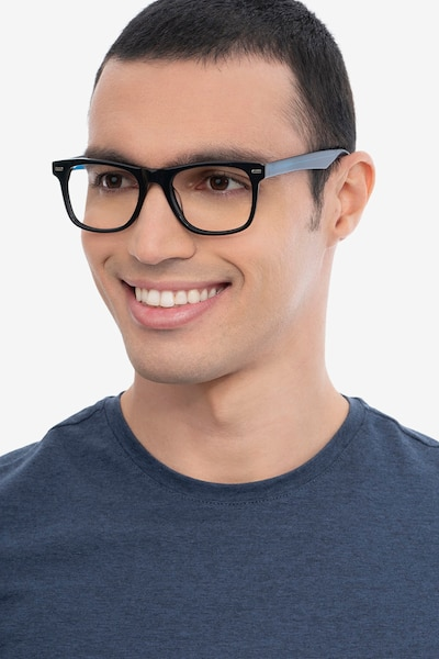 Caster Black Acetate Eyeglass Frames for Men from EyeBuyDirect, Front View