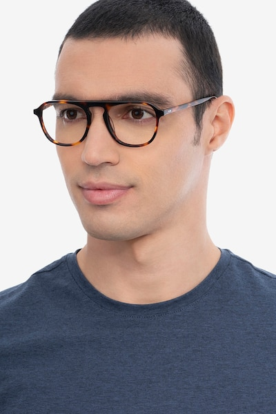 Ida Tortoise Acetate Eyeglass Frames for Men from EyeBuyDirect, Front View