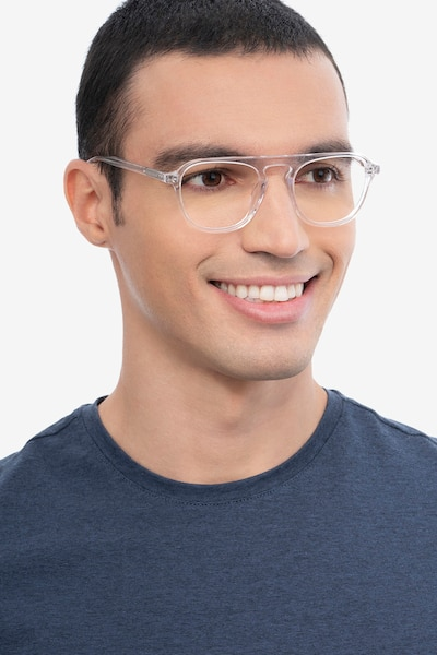 Ida Clear Acetate Eyeglass Frames for Men from EyeBuyDirect, Front View