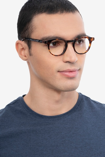 Flora Tortoise Acetate Eyeglass Frames for Men from EyeBuyDirect, Front View
