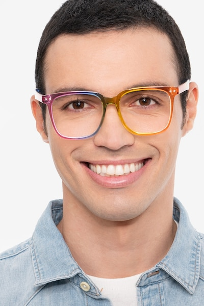 Freedom Rainbow Plastic Eyeglass Frames for Men from EyeBuyDirect, Front View