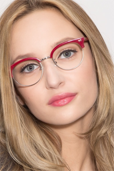 Annabel Red Plastic Eyeglass Frames for Women from EyeBuyDirect, Front View