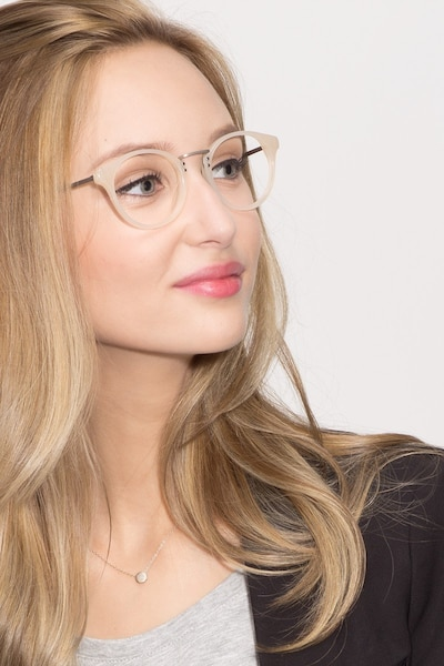 Get Lucky Ivory/Silver Acetate-metal Eyeglass Frames for Women from EyeBuyDirect, Front View