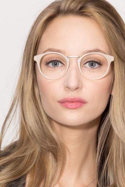 Get Lucky Ivory/Silver Acetate Eyeglass Frames for Women from EyeBuyDirect
