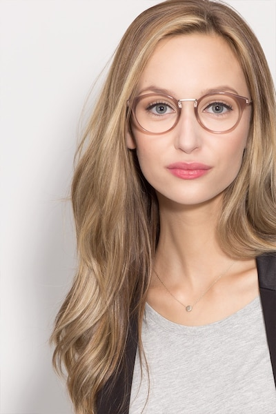 Get Lucky Brown/Silver Acetate Eyeglass Frames for Women from EyeBuyDirect, Front View