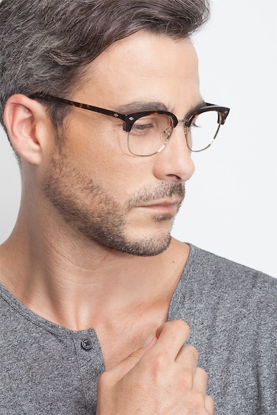 Japan Morning  Dark Tortoise  Acetate Eyeglass Frames for Men from EyeBuyDirect, Front View