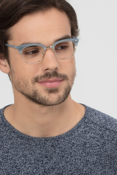 Japan Morning  Blue  Acetate Eyeglass Frames for Men from EyeBuyDirect, Front View