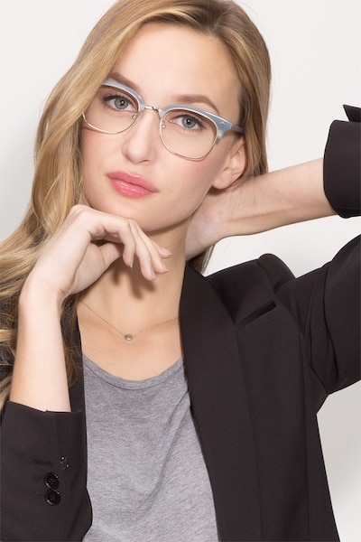 Japan Morning  Blue  Acetate Eyeglass Frames for Women from EyeBuyDirect, Front View