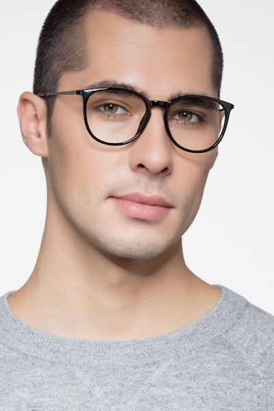 Naomi Black Metal Eyeglass Frames for Men from EyeBuyDirect, Front View