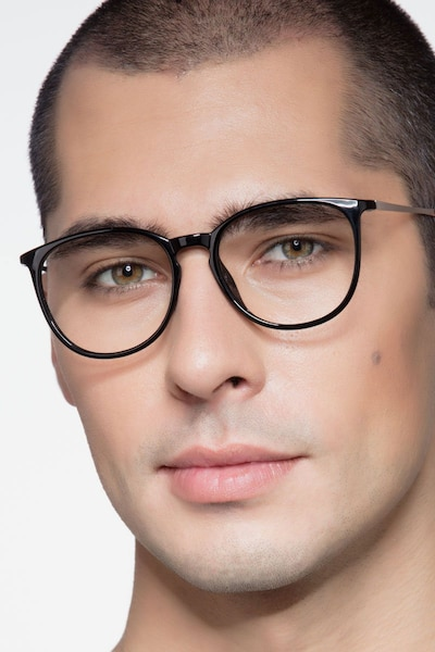 Naomi Black Metal Eyeglass Frames for Men from EyeBuyDirect