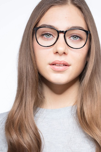 Naomi Black Metal Eyeglass Frames for Women from EyeBuyDirect