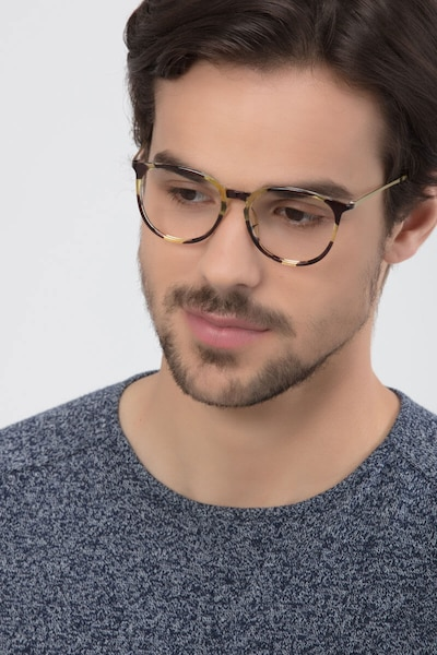 Naomi Tortoise Metal Eyeglass Frames for Men from EyeBuyDirect, Front View