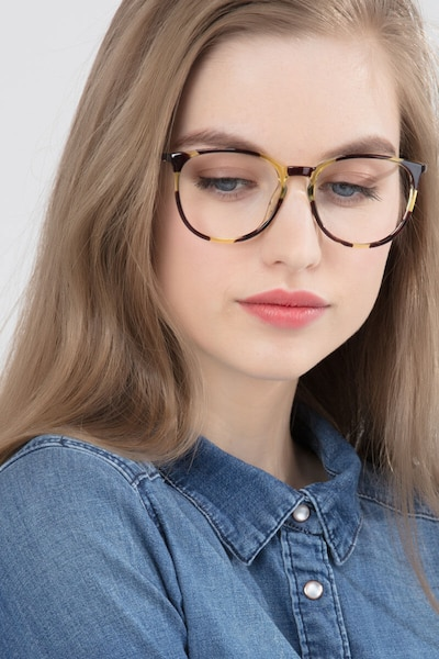 Naomi Tortoise Metal Eyeglass Frames for Women from EyeBuyDirect