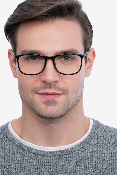 Hurricane Black Plastic Eyeglass Frames for Men from EyeBuyDirect, Front View